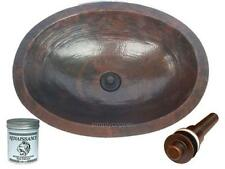 "19"" Oval Rustic Copper Hammered Bath Sink with Drain & Wax"