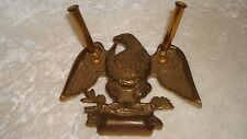 Vintage 1950's Baldwin Eagle Forged Polished Brass Dual Pen Holder, Desk Top