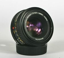 MINOLTA MD 50mm f1.7 LENS. SERVICED WITH WARRANTY. EXCELLENT. #423