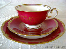 VG GERMAN REICHENBACH RETIRED PORCELAIN ROYAL RED TEA CUP SAUCER PLATE TRIO #3