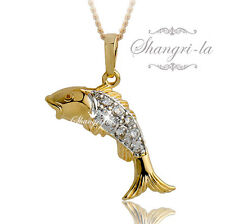 9K 9CT Multi GOLD GF Fish TROUT NECKLACE SWAROVSKI CRYSTAL Ocean LOVERS EX556