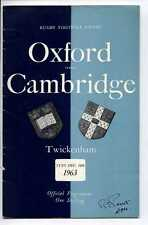 (Gs904-100) Oxford vs Cambridge, Rugby Union Programme, Twickenham 1963 VG-EX