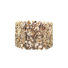 Hot Fashion Vintage Gold Leaf Wide Elastic Bangle Bracelet
