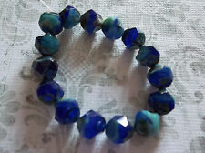 Czech Glass Beads 9mm Chunky Round Cobalt Blue & Turquoise Mix w Picasso Qty 12