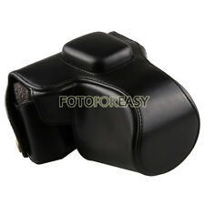 Black Leather Camera Case Bag +Strap For Olympus PEN EPL6 EPL5 EPM2 14-42mm lens