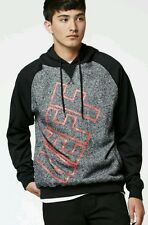 NEFF Corporate Pull Over Hoodie Sweatshirt Heather Gray Black Red Men's Med NEW