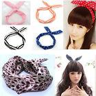 Retro lovely Dot Wire Headband Head Hair Band Bow Ribbon Wrap Bunny Rabbit Ears
