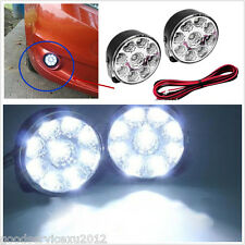 2 Pcs 12V Round 9LED Super Bright Autos Daytime Running Lights DRL Driving Lamps