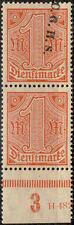 Oberschlesien, 1 Mark Dienstmarke (MiNr. D 16) postfr. UR-Paar mit/ohne Aufdruck