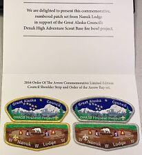 NANUK LODGE 355 OA GREAT ALASKA COUNCIL 523 549 FIREBOWL FLAP & CSP SET NUMBERED