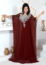 Maroon Dubai Style Islamic Arabian Moroccan Farasha Kaftan Caftan Maxi Dress G