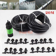 20m Outdoor Garden Patio Misting Cooling Irrigation System Hose 10 Mister Nozzle
