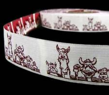 "1 Yd SALE Funny Farm Animals Woven Jacquard Embroidered Ribbon 1""W"