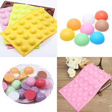 24 Half Ball Sphere Mold Cake Candy Pastry JellY Silicone Tray Baking Mould DIY