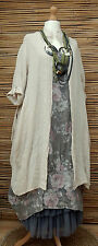 LAGENLOOK LINEN BEAUTIFUL 2 PCS FLORAL DRESS+LONG JACKET*NATURAL/MOCHA*XL-XXL