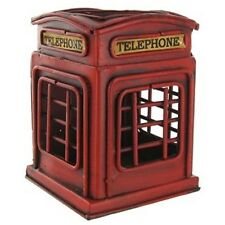 "RETRO STYLE COLLECTIBLE METAL/TIN RED ""TELEPHONE BOOTH"" PEN HOLDER & Home Decor"