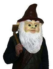 Deluxe Garden Gnome Mask Latex Fancy Dress Costume Halloween Wizard Dwarf Midget
