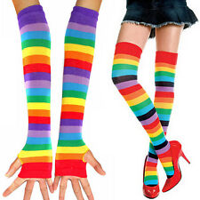 Womens Long Sleeve Biker Fingerless Sunscreen Arm Gloves Rainbow Stockings Socks