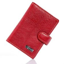 Womens Red Real Genuine Leather Card Holder Wallet 19 ID Credit Card Case Slots