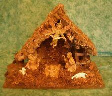 VINTAGE NATIVITY SCENE~MANGER~HOLY FAMILY,GLORIA ANGEL & SHEEP~FONTANINI?~ ITALY