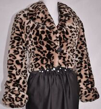 Plush Faux Fur MONTEREY FASHIONS Leopard Print Cropped Coat Jacket Sz S