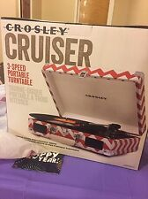 CROSLEY CRUISER CR8005A-CC 3-SPEED PORTABLE TURNTABLE W/BUILT-SPEAKERS, NEW