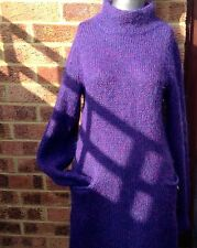 "SPOOM Little Mohair Dutch Dress Size 38"" PURPLE Short Front Pocket Ladies Winter"