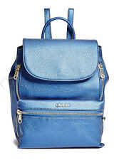 NWT GUESS $98 Alanis Zip Backpack Hobo Handbag Metallic Blue
