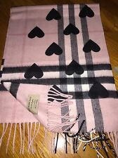 NWT $650 Burberry Classic ASH ROSE Black Cashmere Scarf in Check and Hearts -