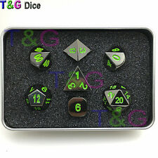 Nightmare Black and Green DnD Metal Dice Set with Iron Box