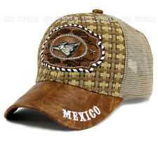 Straw hat Mexico Eagle Metal patched Mesh Trucker Snapback Baseball cap- Brown