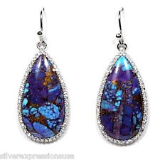 Huge Purple Kingman Turquoise White Topaz 925 Sterling Silver Dangle Earrings
