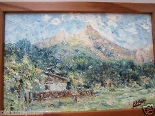 A.J. Maly circa 1950's Austrian Alps oil on canvas painting EC framed!