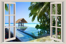 Tropical Island Resort Window View Repositionable Color Wall Sticker Wall Mural
