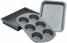 Chicago Metallic NonStick 4 Piece Toaster Oven Pan Baking Set Muffin Cookie Cake
