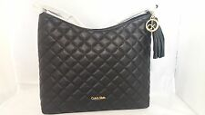 NWT Calvin Klein Quilted Pebble Black Leather Tassel Hobo Shoulder Bag in pack