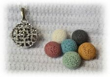 Sparkly Essential Oil Aromatherapy Necklace Diffuser with 6 lava stones!
