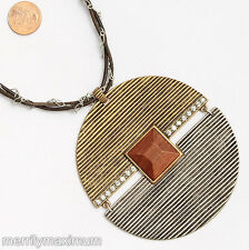 Chico's Signed Statement Necklace Bold Gold Silver Tone Pendant Crystal Accents
