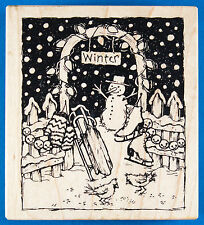 PSX Winter Garden Gate Rubber Stamp K-2284 Snow Man Sled Skates Fence Christmas