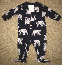 CARTER'S Boys FLEECE Pajamas FOOTIE Footed WINTER New NWT 6 Mo BLACK Polar BEAR