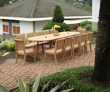 A GRADE TEAK - 13 PC DECK SET GARDEN OUTDOOR PATIO FURNITURE POOL T2 GIVA DINING