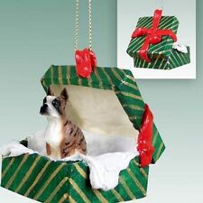 BOXER Brindle Cropped Ears Dog Gift Box Holiday Christmas ORNAMENT