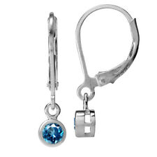 Genuine London Blue Topaz 925 Sterling Silver Leverback Dangle Earrings