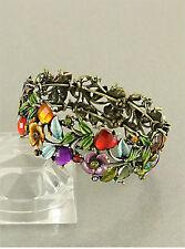 7f Brass Victorian Multi Color Crystal Flower Floral Bangle Stretch Bracelet