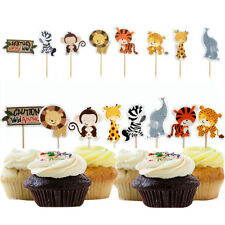 24pcs Dschungel Tier Cupcake Toppers Picks Kinder Baby Dusche  Party Dekoration
