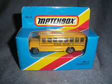 273B Vintage Matchbox 1981 MB 47 Autobus Scolaire Bus School District 2 US 1:76