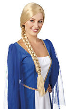 LADIES LONG BLONDE BRAIDED PLAIT MEDIEVAL TUDOR FANCY DRESS COSTUME WIG NEW