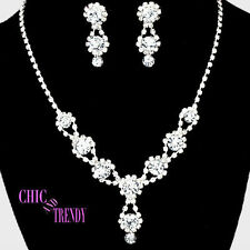 CLASSIC CLEAR CRYSTAL PROM WEDDING FORMAL NECKLACE JEWELRY SET CHIC & TRENDY