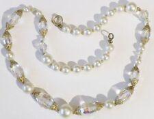 collier bijou vintage perle nacré perle cristal facette boréal couleur or * 5001