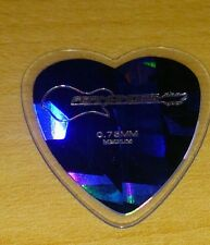 Heart shaped blue shiny guitar pick by authentic guitar maker FERNANDES